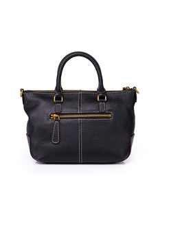 Fashion Cowhide Zipper Pocket Tote & Top Handle Bag