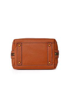 Casual Retro Genuine Leather Zip-up Top Handle Bag