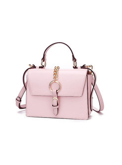 Pink Magnetic Lock Top Handle & Crossbody Bag