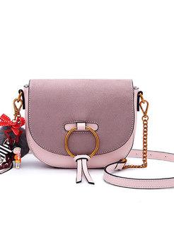 Retro PU Circle Detail Magnetic Lock Crossbody Bag