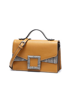 Stylish Color-blocked PU Magnetic Lock Crossbody Bag
