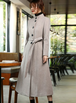 Autumn Retro Standing Cold Cashmere Coat With Belt