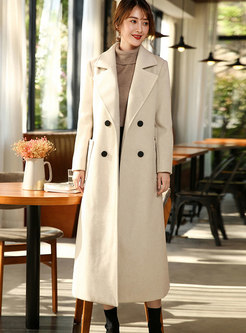 Winter Beige Turn-down Collar Double-breasted Coat