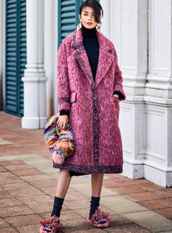Notched Long Sleeve Loose Knee-length Overcoat