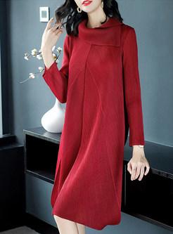 Casual Long Sleeve High Neck Shift Dress