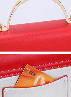 Stylish Color-blocked Accordion Lock Crossbody Bag