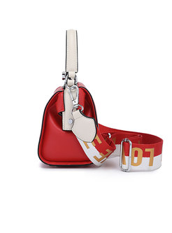 Stylish Color-blocked PU Clasp Lock Top Handle & Crossbody Bag