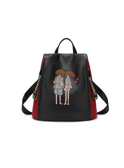 Chic Embroidered Cartoon Pattern Backpack