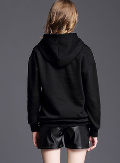 Black Hooded Embroidered Loose Hoodies With Sequin Detail