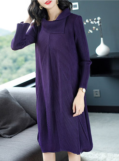 Casual High Neck Long Sleeve Shift Dress