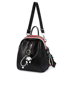 Stylish Solid Color Zipper Pocket Tote & Backpack