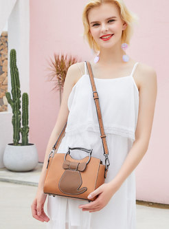 Fashion PU Zipper Pocket Frosted Solid Color Top Handle Bag