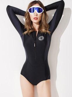 Color-blocked Long Sleeve Zipper One Piece Swimwear