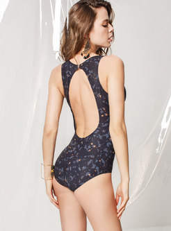 Print Backless O-neck One Piece Swimwear