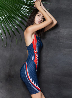 Fashion Color-blocked Sleeveless One Piece Swimwear