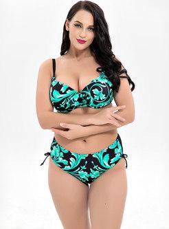 Stylish Print Bowknot Bikini