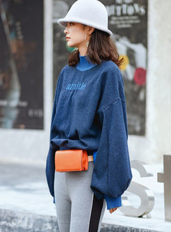 High Neck Letter Embroidered Loose Sweatshirt