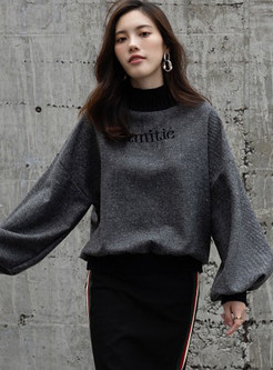 Casual Turtle Neck Long Sleeve Pullover Sweatshirt