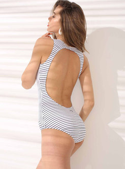 Striped Backless One Piece Swimwear