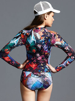 Fashion Print Long Sleeve One Piece Swimwear