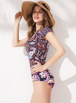 Trendy Print Zipper Short Sleeve Slim Swimwear