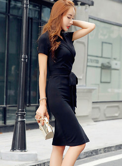 Trendy V-neck Tied-waist Skinny Work Dress