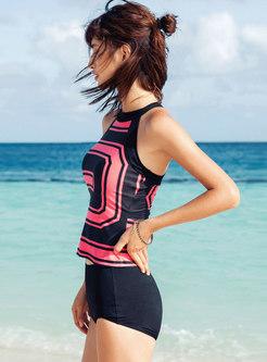 Trendy Hit Color Sleeveless Two Piece Swimwear
