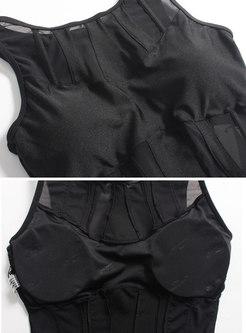 Black Mesh Splicing Scoop Neckline Swimwear