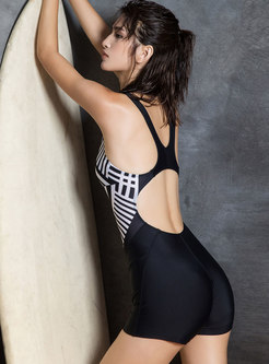 Stylish Print Off Back One Piece Swimwear