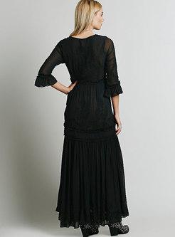 Bohemia Black Embroidered Maxi Wedding Dress