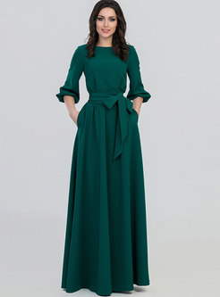Crew Neck Party Maxi Dress With Belt