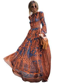 Bohemia O-neck Long Sleeve High Waist Big Hem Dress