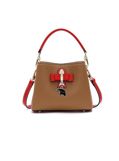 Color-blocked Bowknot Zippered Crossbody Bag