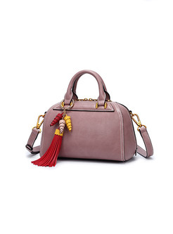 Trendy Tassel Zippered Top Handle & Crossbody Bag