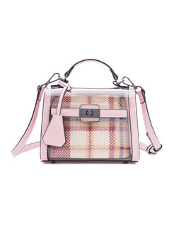 Pink Plaid Transparent Crossbody Bag