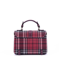 Chic Color-blocked Plaid Lock Handle & Crossbody Bag