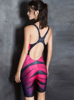 Hit Color Off Back One Piece Swimwear