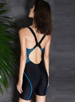 Stylish Color-blocked Dry Fast Swimwear