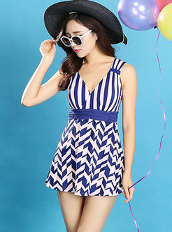 Color-blocked Striped V-neck Gathered Waist Swimwear