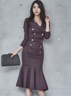 Autumn Work Strap Bodycon Dress & Lapel Short Coat