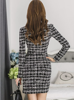 Trendy Black Deep V-neck Long Sleeve Mini Sexy Dress