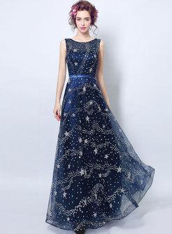 Dresses Prom Dresses Elegant Stars Pattern Sleeveless Maxi
