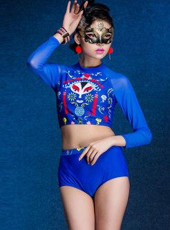 Ethnic Print Long Sleeve Two Piece Swimwear