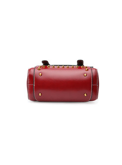 Vintage Solid Color Rivet Crossbody Bag