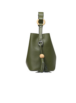 Solid Color Easy-matching Tassel Crossbody Bag