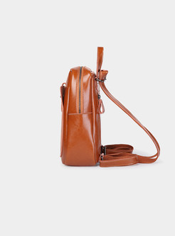 Vintage Leather Brief Zippered Backpack