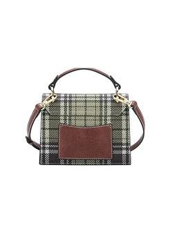 Stylish Grid Clasp Lock Top Handle & Crossbody Bag