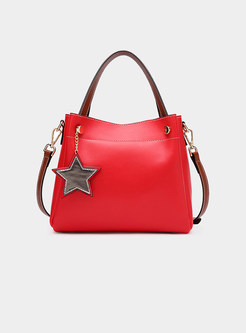 Fashion Bucket Top Handle & Crossbody Bag With Star Detail