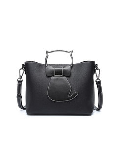 Brief All Matched PU Open-top Top Handle & Crossbody Bag