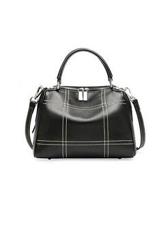 Trendy Leather Zippered Top Handle & Crossbody Bag